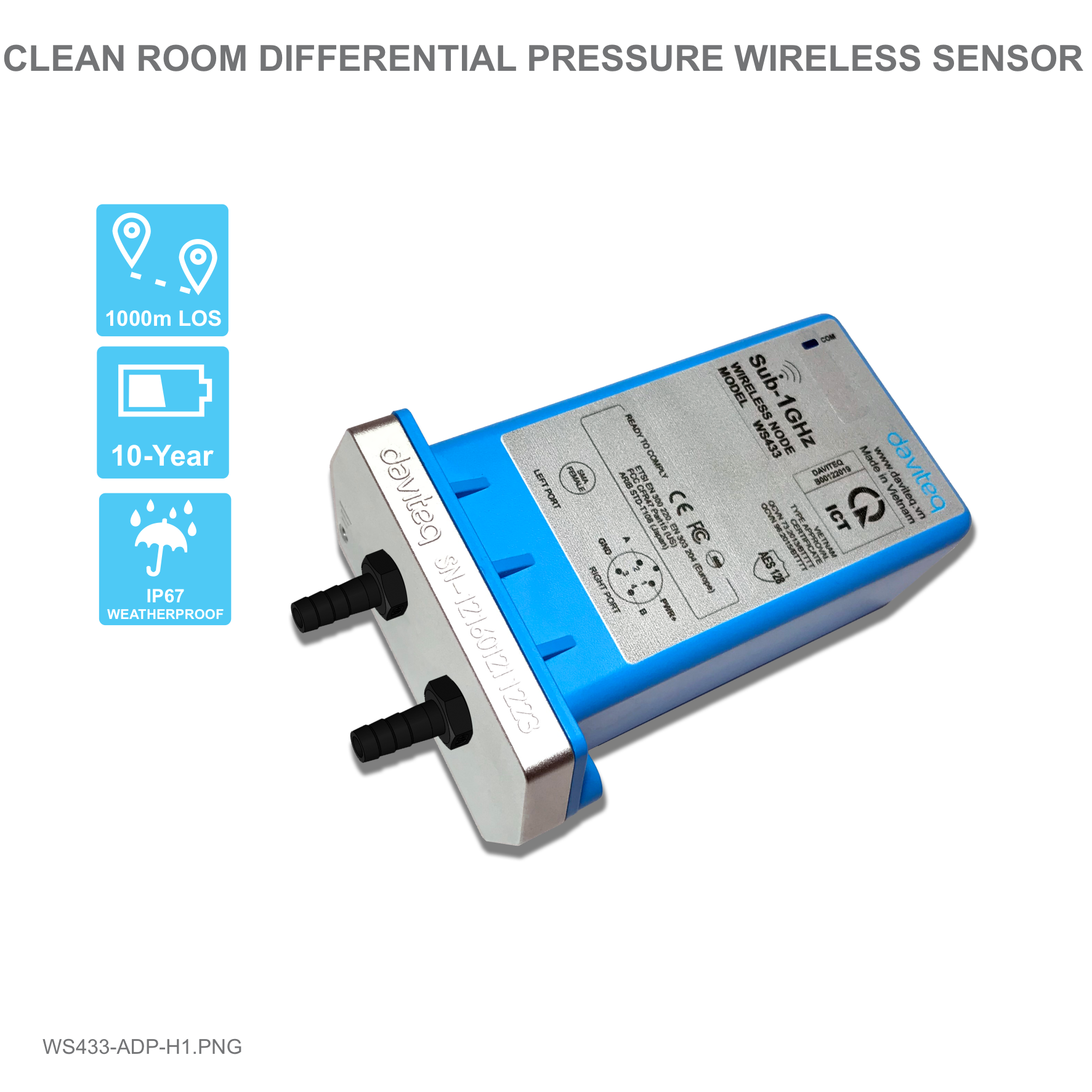 Cảm biến không dây đo chênh áp phòng sạch